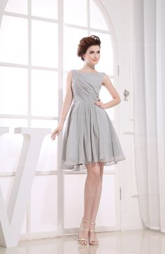 Simple high squre neck above the knee length bridesmaid dress
