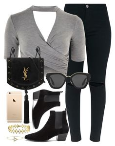 """Montenegro"" by monmondefou ❤ liked on Polyvore featuring Versace 19•69, Topshop, Yves Saint Laurent, Prada, black and gray"