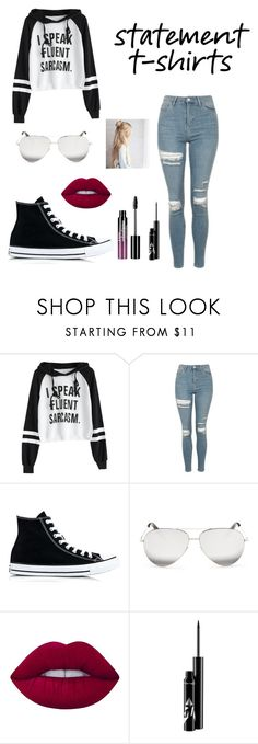 """Untitled #48"" by kitcat9-1 ❤ liked on Polyvore featuring Topshop, Converse, Victoria Beckham, Lime Crime and Charlotte Russe"