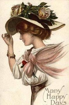 26 ideas for vintage women illustration christmas cards Decoupage Vintage, Vintage Ephemera, Vintage Postcards, Images Vintage, Vintage Pictures, Vintage Photographs, Halloween Vintage, Etiquette Vintage, Victorian Art