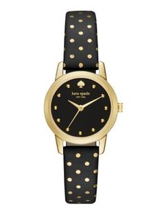 "covered with tiny polka dots, this more petite version of our popular metro watch is the perfect way to decorate a delicate wrist; ""mini"" as it may be, it packs a lot of style into a few square centimeters!"