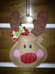 Rudolph the Red Nosed Reindeer Burlap Door Hanger. $25.00, via Etsy.