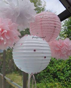 Simply Irresistable    2 Paper Lanterns with Rhinestones/ Wedding, Reception/ Photo Props, Bridal Shower, Baby Shower, Birthday via Etsy