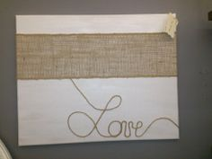 Painted canvas, burlap, and twine