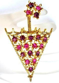 Vintage Pink Purple Umbrella Brooch Rhinestone Gold Tone Pin Large Figural #Unbranded #Umbrella