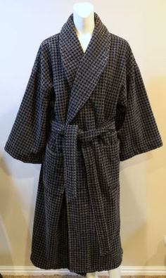 Nautica-Cotton-Mens-Bath-Robe-Black-Gray-Houndstooth-Thick-Heavy-Belted