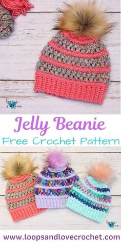 Jelly Beanie - Free Crochet Pattern Loops & Love Crochet The Jelly Beanie is such a fun one to work up. The puff stitches add such fun, jelly bean like texture and endless color possibilities! Crochet Kids Hats, Love Crochet, Crochet Crafts, Crochet Projects, Crochet Dolls, Kids Crochet Hats Free Pattern, Crocheted Hats, Single Crochet, Crochet Accessories Free Pattern