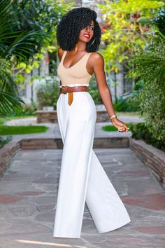 Style Pantry | Tank Bodysuit + Paper Bag Waist Trousers