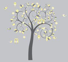 Children Wall Decal Girls Nursery Vinyl Owl Wall Decals Flowers Owls Curl Tree Butterflies