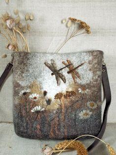 Sepia. Unique Hand Made OOAK Felted Wool Deer Shoulder Crossbody Messenger Bag Boho Hobo