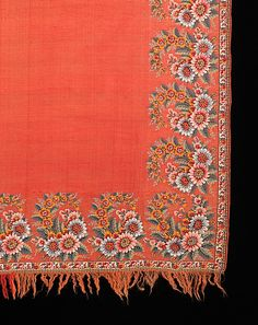 Coral colored Shawl with flowers, France (1800-25)~Image © The Metropolitan Museum of Art