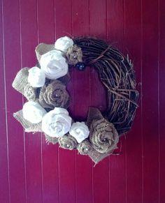 Burlap and Muslin Rosette Wreath