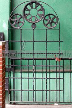 Steampunk Gear Art - Urban Door - Jade Green Photography - Emerald Wall Decor - Urban Door - Industrial Art - 6x9 - Nine Dragons Photography