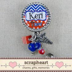 Personalized PT Name Badge Reel Cute Bling by ScrapheartGifts