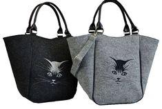 Homemade Women felt bag, Felt tote, Cat bag, Felt shopperbag, Felt handbag, Felt shoulder bag, Cat design bag by BPStudioDesign on Etsy