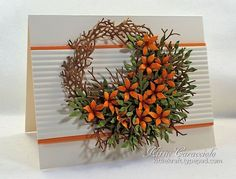 Fall Floral Wreath card by Kittie Caracciolo