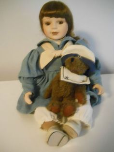 Boyds Porcelain Doll Collection -Sail Away Betsy - Holding Boyds Bear Plush