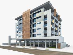 Modern Residential Building 03 3D Model Game ready .max .obj .3ds ...