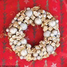Recycled ornaments + glue gun = Fabulous vintage-looking wreath.