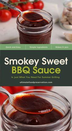 Smokey Bbq Sauce Recipe, Canning Bbq Sauce Recipe, Hawaiian Bbq Sauce Recipe, Make Bbq Sauce, Homemade Bbq Sauce Recipe, Easy Barbecue Sauce Recipe, Homemade Spaghetti Sauce, Pressure Canning Recipes, Summer Grilling Recipes