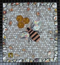 Mosaic Bee Wall Art by TomatoJack Arts CDs, recycled copper wire, vintage crockery, stained glass, ceramic and glass mosaic tile