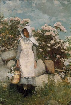 Girl and Laurel by Winslow Homer