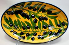 Olive oval dish, old pattern painted by artist Geoff Graham of CInnabar Ceramics in Vallejo, California.
