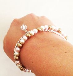 Glass Pearl and Silver Chain toggle Bracelet by TwistedPeacock, $12.00