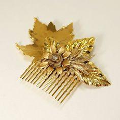 Gold Leaves Vintage Bridal Hair Comb