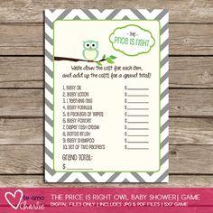 The Price is Right Owl Baby Shower - could change header for baseball grand slam or diva for girls