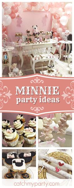 Take look at this wonderful Minnie Mouse birthday party! The cupcakes are so cute!! See more party ideas and share yours at CatchMyParty.com #minnie #minnieparty