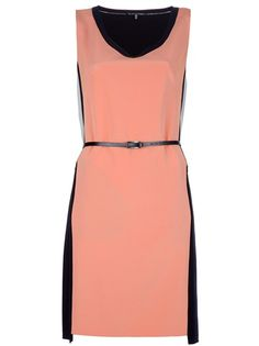 Orange dress from Elie Tahari featuring a v-neckline with black panel outline, a sleeveless cut, a cinched waist with a skinny black belt, an above the knee cut, contrast black panels down the sides and to the skirt at the back.