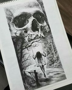 Swinging from the jaws of death - Incredible dotwork drawing by artist… Kunst Tattoos, Skull Tattoos, Tattoo Drawings, Cool Drawings, Fantasy Kunst, Fantasy Art, Mago Tattoo, Tattoo Crane, Totenkopf Tattoos