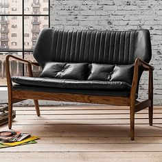 Anglia Leather 2 Seater Sofa, Black by Gallery Home | Zanui