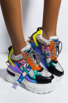 AKIRA Neon Faux Leather PVC Script Holographic Strip Hidden Wedge Chunky Platform Sneaker, In Fuchsia Multi, Yellow Multi, Fuchsia Multi Sneakers Mode, Cute Sneakers, Sneakers Fashion, Fashion Shoes, Shoes Sneakers, Crazy Shoes, Me Too Shoes, High Platform Shoes, Platform Wedge