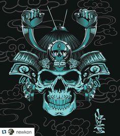 Collaboration piece with graphic artist @newkon. #vectorart #vector #illustration #illustrator #digital #digitalart #skull #samarai #graphic #graphicdesign #adobeillustrator #adobe #helmet