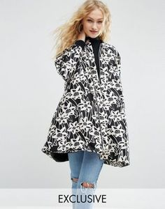 ASOS Made In Kenya Floral Satin A-Line Coat With Rib Detail