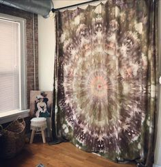 Dye Art Tapestry used as a room seperation by Urban Eden Creative Studio. Color Of Life, Creative Studio, Fabric Art, Mandala, Tapestry, Fan Art, Urban, Room, Design