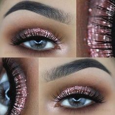 Rose Gold Glitter Eye Makeup