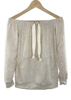 - Off-the shoulder neckline - big eyelet detail - front pocket - 90% cotton and 10% polyester - made in USA
