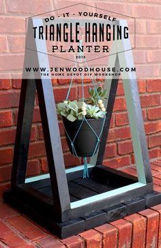 Learn how to build this DIY triangle hanging planter - free plans and tutorial via Jen Woodhouse #diy #hangingplanter #planter #succulents #macrame #plants