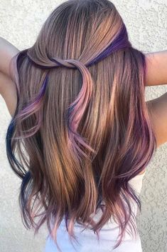 Cold Undertones Rainbow With Light Brown Hair hair color 50 Fabulous Rainbow Hair Color Ideas Perfect Hair Color, Cool Hair Color, Hair With Color, Hair Color Highlights, Hair Color Balayage, Rainbow Hair Highlights, Caramel Highlights, Balayage Brunette, Balayage Highlights