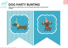 DIY Free Doggy Party Blue Bunting - JustLoveDesign