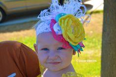hot pink, aqua, yellow headband-photo prop-birthday headband-fancy headband- big flower headband- over the top bow
