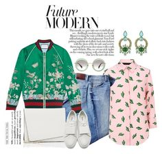 """""""Future Modern"""" by chrisger ❤ liked on Polyvore featuring Miu Miu, American Retro, Paige Denim, Gucci, Roberto Cavalli, Valextra, Acne Studios and modern"""