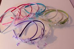 Flower Girl Wedding Bridesmaid Butterfly Headband pink silver gold green purple