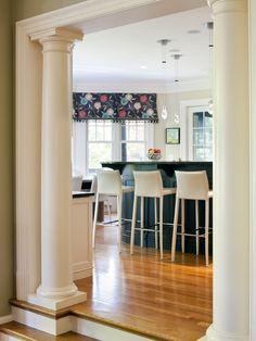 This is a nice valence. Columns Inside, Wood Columns, Kitchen Columns, Tuscan Column, Interior Columns, Interior Door, Interior Design, Pillar Design, Column Design
