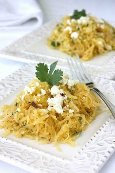 Southwestern Spaghetti Squash with Chipotle Peppers, Cilantro  & Queso Fresco Cheese