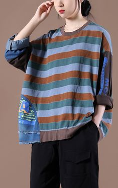 Modern Coffee Tops Women Striped Knee Spring Tops Stylish Tops, Casual Tops, New Style Tops, Plus Size T Shirts, Spring Tops, Cotton Blouses, New Woman, Plus Size Women, Long Sleeve Tops