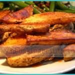 Crispy Suhh-weet Potato Wedges that are baked, not fried!  You can season them in so many different ways, too.